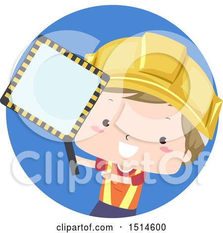 Clipart of a Happy Construction Worker Boy Holding a Party Zone Sign - Royalty Free Vector Illustration by BNP Design Studio