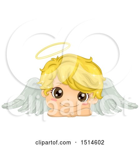 Clipart of a Cute Blond Angel Boy Resting His Head on His Arms - Royalty Free Vector Illustration by BNP Design Studio