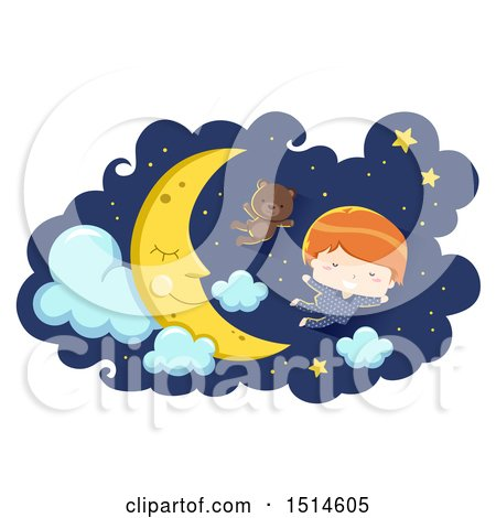 Clipart of a Boy in Pajamas, Flying with a Teddy Bear by a Sleeping Moon - Royalty Free Vector Illustration by BNP Design Studio