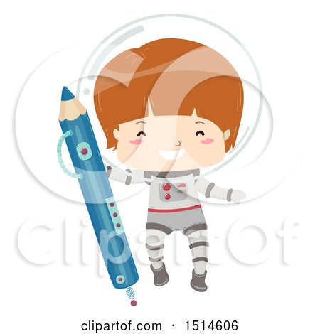 Clipart of a Happy Astronaut Boy Holding a Pencil - Royalty Free Vector Illustration by BNP Design Studio