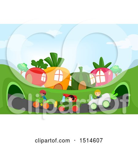 Clipart of a Group of Children Racing Vegetable Cars and a Bicycle in a Garden Town - Royalty Free Vector Illustration by BNP Design Studio