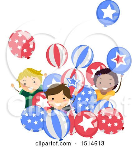 Clipart of a Group of Children Celebrating with American Party Balloons - Royalty Free Vector Illustration by BNP Design Studio