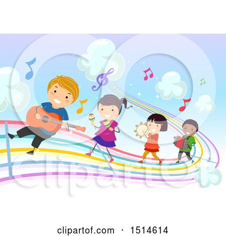 Clipart of a Colorful Rainbow Music Road with Children Playing Instruments - Royalty Free Vector Illustration by BNP Design Studio