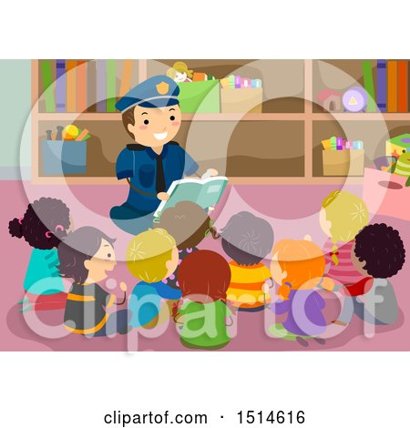 Clipart of a Police Man Reading a Book to a Group of School Kids - Royalty Free Vector Illustration by BNP Design Studio