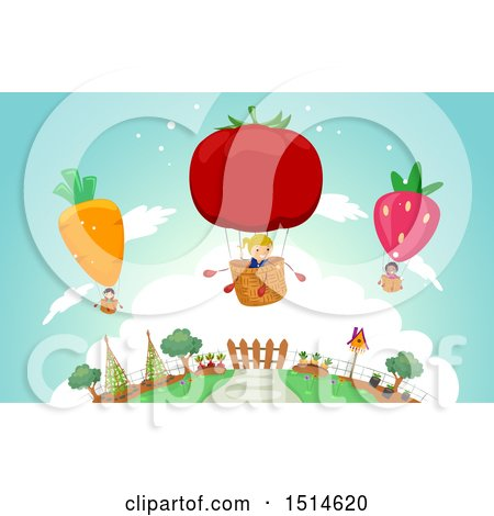 Clipart of a Group of Children in Produce Hot Air Balloons - Royalty Free Vector Illustration by BNP Design Studio
