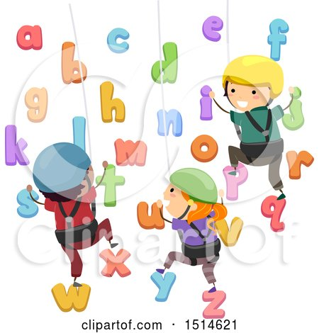Clipart of a Group of School Children Climbing an Alphabet Wall - Royalty Free Vector Illustration by BNP Design Studio