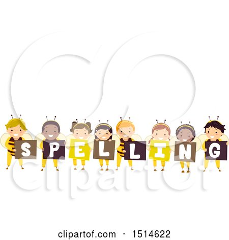 Clipart of a Group of Bee Children Holding Signs That Say Spelling - Royalty Free Vector Illustration by BNP Design Studio