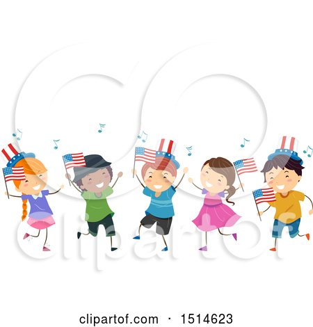 Clipart of a Group of Celebrating Children with American Flags - Royalty Free Vector Illustration by BNP Design Studio