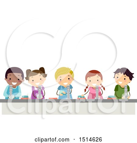 Clipart of a Line of Children Washing Hands - Royalty Free Vector Illustration by BNP Design Studio