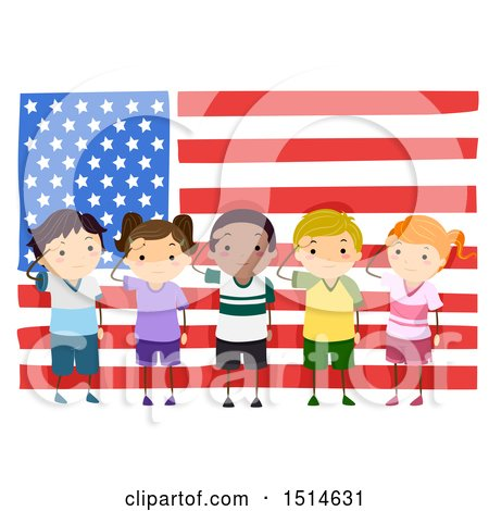 Clipart of a Group of Children Saluting in Front of an American Flag - Royalty Free Vector Illustration by BNP Design Studio