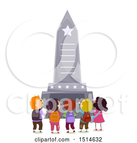 Clipart of a Group of Children at a Memorial Monument - Royalty Free Vector Illustration by BNP Design Studio