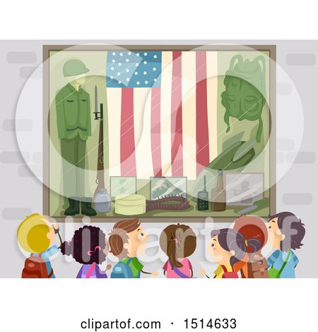 Clipart of a Group of Children at a War Memorial Museum - Royalty Free Vector Illustration by BNP Design Studio