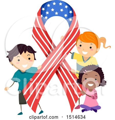 Clipart of a Group of Children with an American Ribbon - Royalty Free Vector Illustration by BNP Design Studio