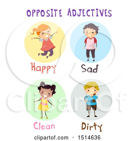 Clipart Of A Group Of Children Showing Opposite Adjectives