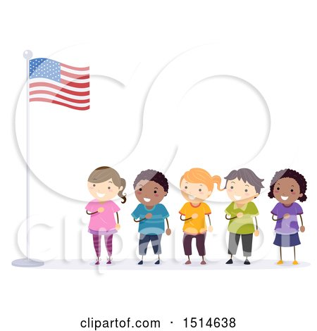Clipart of a Line of Children Pledging Allegiance to the American Flag - Royalty Free Vector Illustration by BNP Design Studio