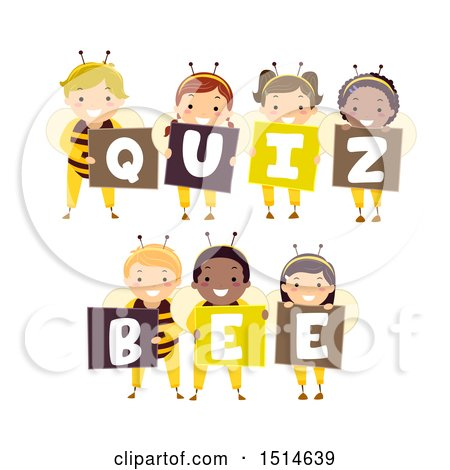 Clipart Of A Group Of Kids In Costumes Spelling Out Quiz Bee Royalty Free Vector Illustration on Honey Bee Drawings