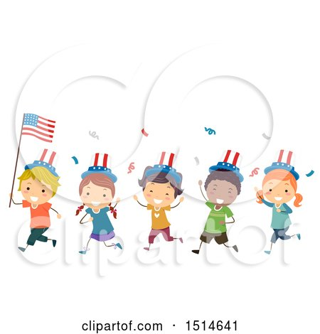Clipart of a Group of Children Celebrating with an American Flag - Royalty Free Vector Illustration by BNP Design Studio