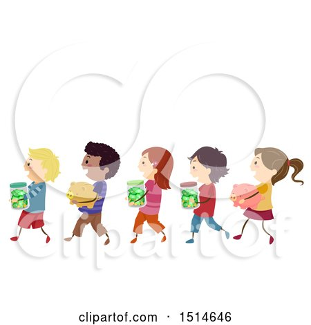 Clipart of a Line of Children Carrying Piggy Banks and Money Jars - Royalty Free Vector Illustration by BNP Design Studio