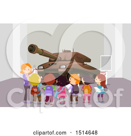 Clipart of a Teacher and Students Looking at a Tank at a Memorial Museum Field Trip - Royalty Free Vector Illustration by BNP Design Studio