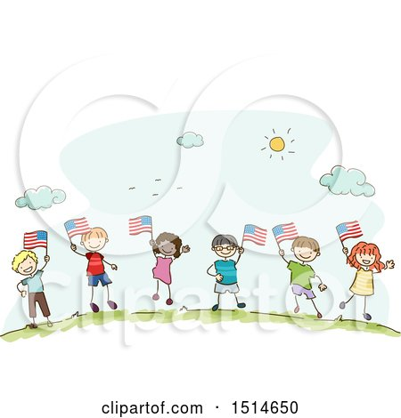 Clipart of a Sketched Group of Children Waving American Flags - Royalty Free Vector Illustration by BNP Design Studio