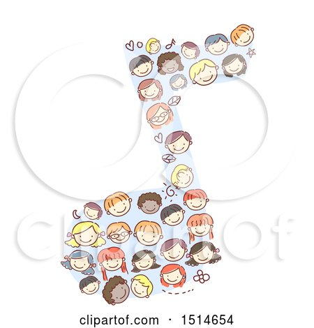 Clipart of a Sketched Music Note Made of Faces of Children - Royalty Free Vector Illustration by BNP Design Studio