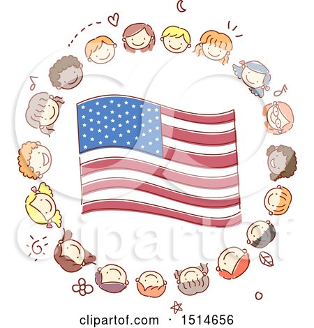 Clipart of a Sketched Circle of Child Faces Around an American Flag - Royalty Free Vector Illustration by BNP Design Studio