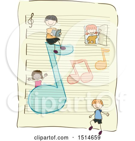 Clipart of a Sketched Group of Children with Music Notes on a Ruled Sheet of Paper - Royalty Free Vector Illustration by BNP Design Studio
