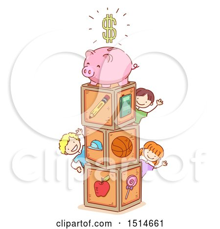 Clipart of a Sketched Group of Children with Toy Blocks and a Piggy Bank| Royalty Free Vector Illustration by BNP Design Studio