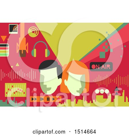 Clipart of a Broadcast Communication Background with People and Media Controls - Royalty Free Vector Illustration by BNP Design Studio