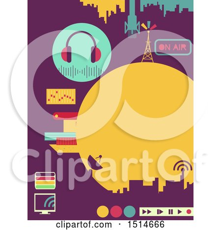 Clipart of a Broadcast Design with Radio Towers and Media Controls - Royalty Free Vector Illustration by BNP Design Studio
