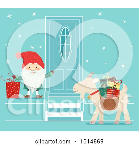 Clipart of a Swedish Christmas Tomte Knocking on a Door, and a Yule Goat Waiting - Royalty Free Vector Illustration by BNP Design Studio