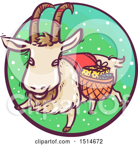 Clipart of a Christmas Yule Goat with Gifts - Royalty Free Vector Illustration by BNP Design Studio