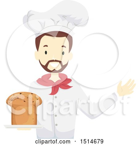 Clipart of a Male Baker Holding Fresh Panettone Bread - Royalty Free Vector Illustration by BNP Design Studio