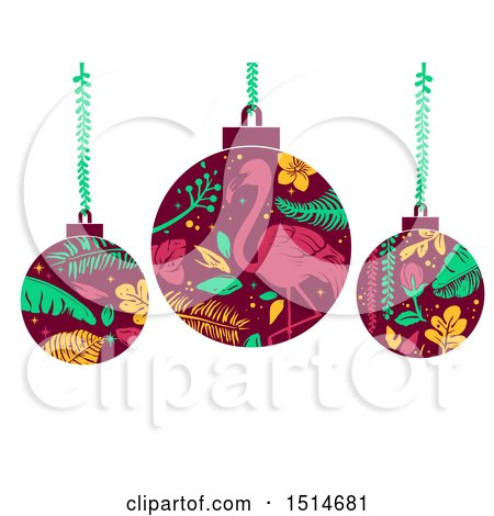 Clipart of Tropical Christmas Bauble Ornaments - Royalty Free Vector Illustration by BNP Design Studio