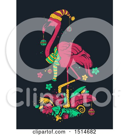 Clipart of a Tropical Christmas Flamingo - Royalty Free Vector Illustration by BNP Design Studio