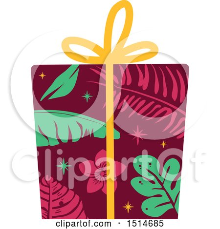 Christmas Gift Clipart.Clipart Of A Christmas Gift Wrapped In Tropical Paper
