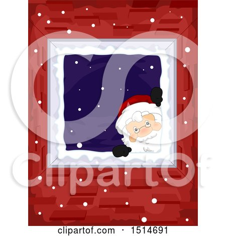 Clipart of a Christmas Santa Peeking down a Chimney - Royalty Free Vector Illustration by BNP Design Studio