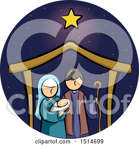 Clipart of a Star over a Manger with Baby Jesus, Mary and Joseph - Royalty Free Vector Illustration by BNP Design Studio