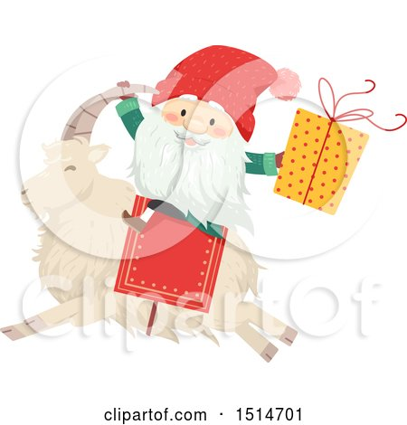Clipart of a Swedish Christmas Tomte Riding a Yule Goat - Royalty Free Vector Illustration by BNP Design Studio