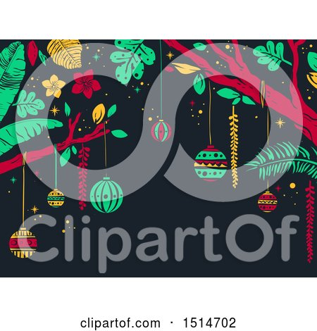 Clipart of a Tropical Christmas Background with Trees and Ornaments - Royalty Free Vector Illustration by BNP Design Studio