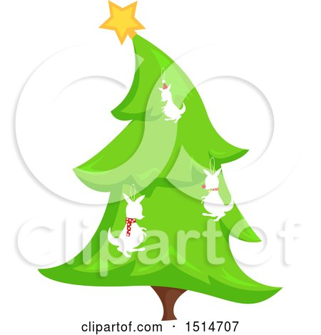 Clipart of a Christmas Tree Decorated with Kangaroos - Royalty Free Vector Illustration by BNP Design Studio