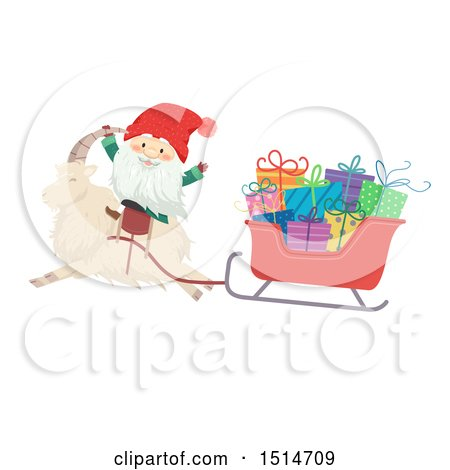 Clipart of a Swedish Christmas Tomte and Yule Goat with a Sleigh - Royalty Free Vector Illustration by BNP Design Studio