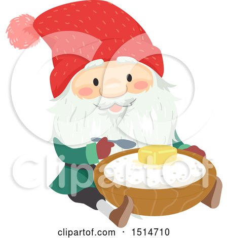 Clipart of a Swedish Christmas Tomte Eating Porridge - Royalty Free Vector Illustration by BNP Design Studio