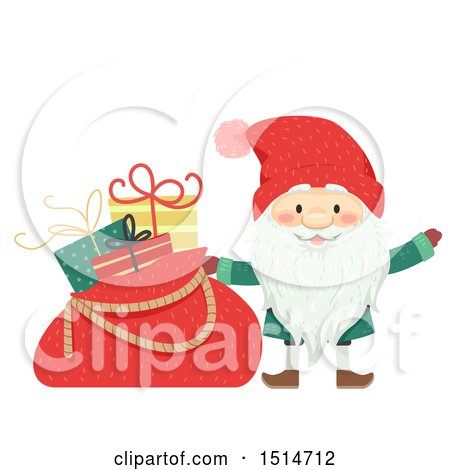 Clipart of a Swedish Christmas Tomte with a Sack of Gifts - Royalty Free Vector Illustration by BNP Design Studio