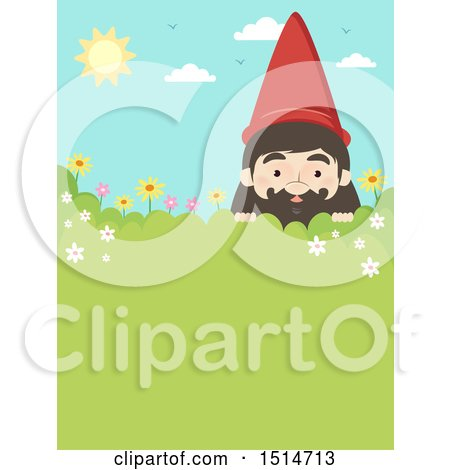 Clipart of a Garden Gnome Peeking over a Shrub, with Text Space - Royalty Free Vector Illustration by BNP Design Studio