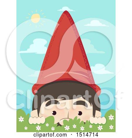 Clipart of a Garden Gnome Peeking over a Shrub - Royalty Free Vector Illustration by BNP Design Studio