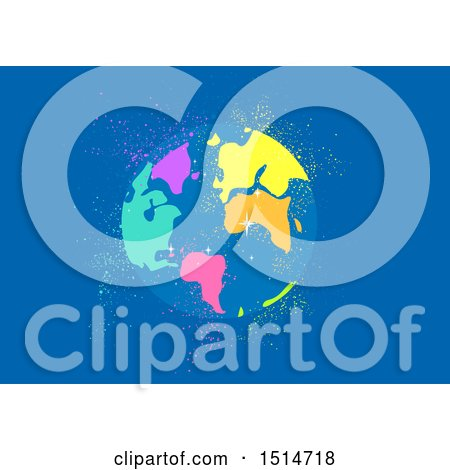 Clipart of a Golorful Globe and Sparkles on Blue - Royalty Free Vector Illustration by BNP Design Studio