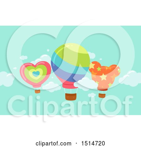 Clipart of Hot Air Balloons in the Sky - Royalty Free Vector Illustration by BNP Design Studio