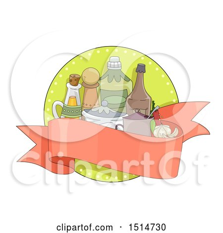Clipart of a Sketched Ribbon Banner with Condiments and Spices - Royalty Free Vector Illustration by BNP Design Studio