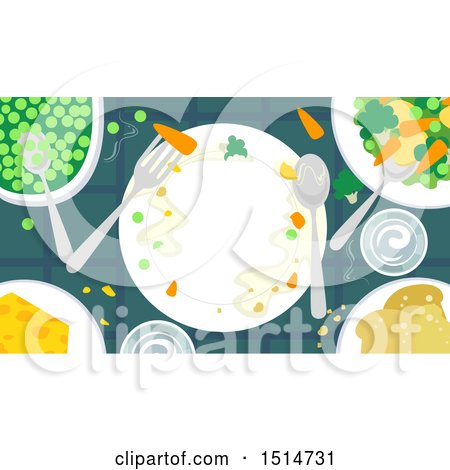Clipart of a Plate Surrounded by Vegetables - Royalty Free Vector Illustration by BNP Design Studio